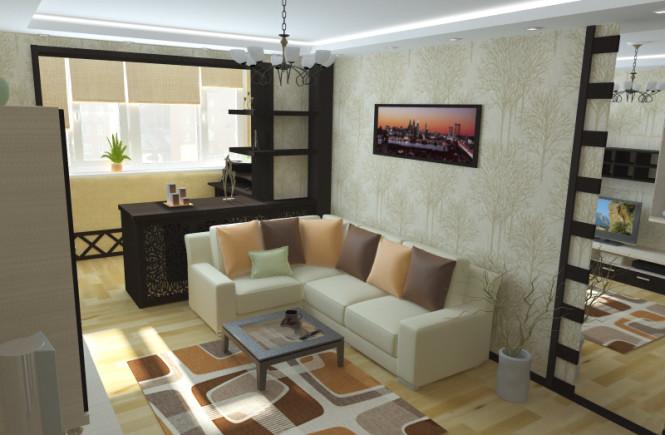 Кухня совмещенная с гостиной и балконом дизайн