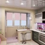 Объединенные балкон и кухня