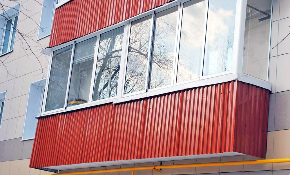 Обшить балкон своими руками профнастилом видео